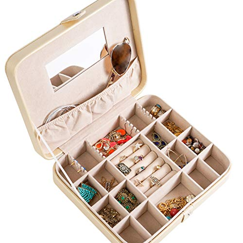 (Hives and Honey Jewelry Metallic Gold Travel Case Jewelry Box)