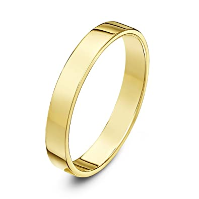 theia unisex heavy flat court shape polished 9 ct yellow gold wedding ring 3 mm - Flat Wedding Rings