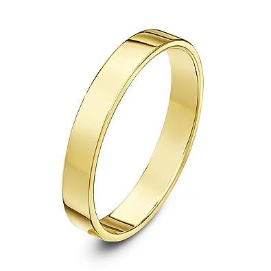 Theia Unisex Heavy Flat Court Shape Polished, 9 ct Gold Wedding Ring