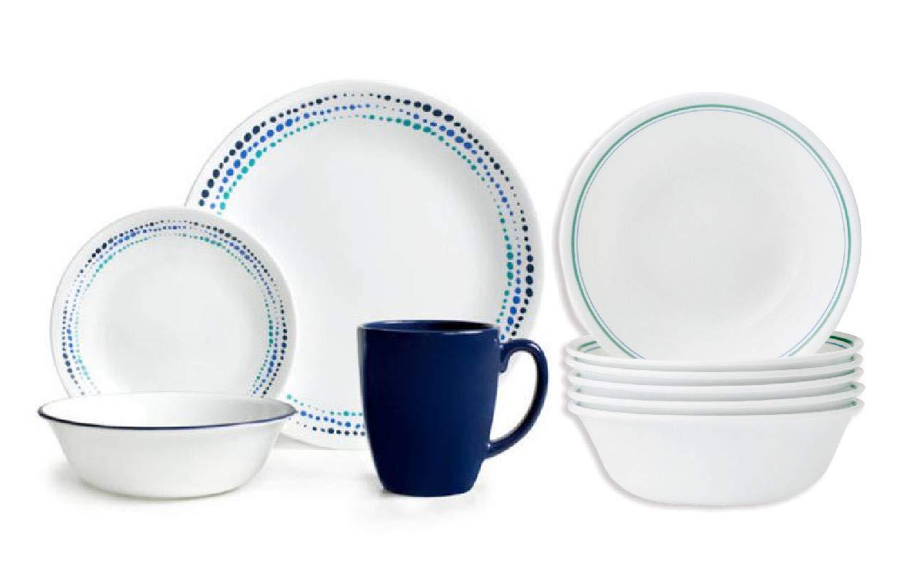Livingware Ocean Blues 16-Piece Dinnerware Set & 18-oz Bowls, Set of 6