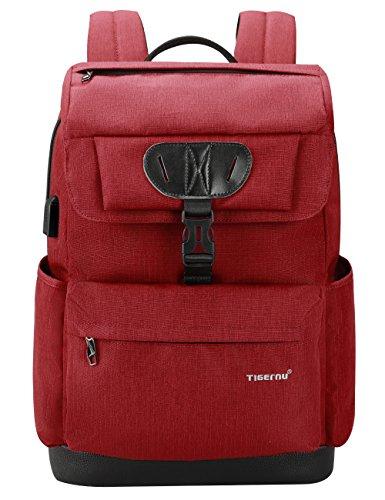 Tigernu College Laptop Backpack School Bookbag with USB Charging Port for Women Men Water Resistant Travel Computer Bag Fits 15.6 inch Laptop/MacBook - Red