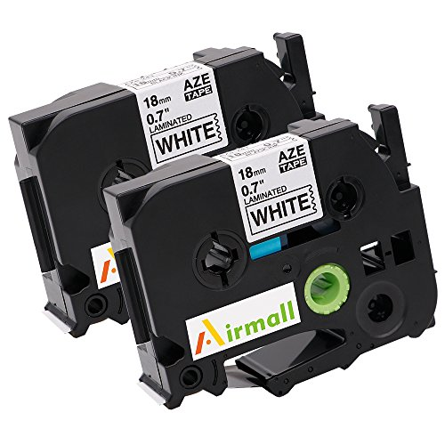 Airmall 2 Pack Compatible Brother P-touch Label Maker TZ TZe Laminated Tape TZe241 TZ241 Black on White 18mm (3/4 Inch) x 26.2 ft. (8m)