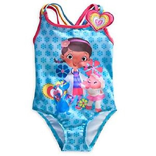 DISNEY STORE DOC MCSTUFFINS SWIM BATHING SUIT BLUE GIRLS ~ 2016 (7/8)