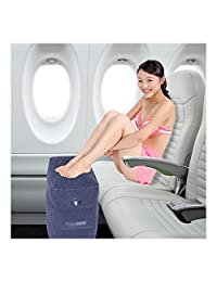 Travel Pillow Inflatable Footrest, Leg Rest Travel Pillow for Plane Sleeping- Kids' Bed to Lay Down Flat on Flights (Blue)