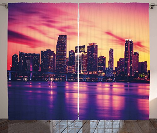 """Ambesonne United States Curtains, View of Miami at Sunset Building Urban Modern City Life Ocean Skyline, Living Room Bedroom Window Drapes 2 Panel Set, 108"""" X 90"""", Purple Peach"""