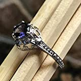 Natural 1ct Iolite 925 Solid Sterling Silver Engagement Ring Size 6, 7, 8