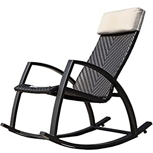 Grand Patio Weather Resistant Wicker Rocking Chair with Breathable Headrest and Wood Grain Painted Armrests, Aluminum Frame Outdoor Rocking Chair, Dark Brown