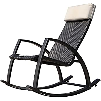 grand patio weather resistant wicker rocking chair with breathable headrest and wood grain painted armrests