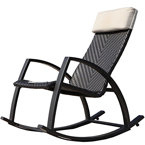 Grand Patio Weather Resistant Wicker Rocking Chair with Breathable Headrest and Wood Grain Painted Armrests, Aluminum Frame Outdoor Rocking Chair, Dark Brown (Outdoor Rocking Chairs Cheap)