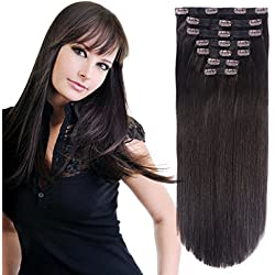"Clip in Hair Extensions Triple Weft 20"" Straight Heat-Resisting Fiber Hairpiece #2 Dark Brown 7Pcs 140g"