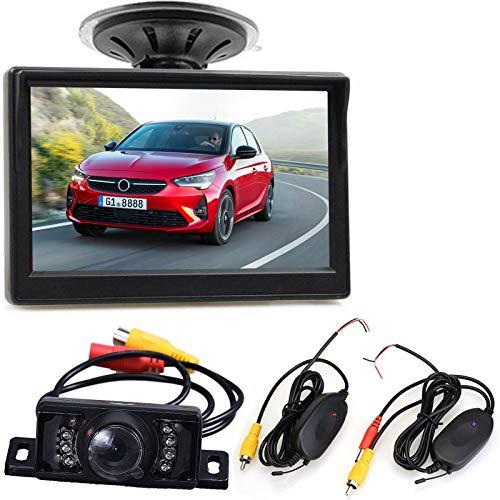 Draadloze Voertuig Backup Camera System,5 Inch Display Kleur Monitor +7 LEDs Waterdichte Nacht Vison Omkeren…
