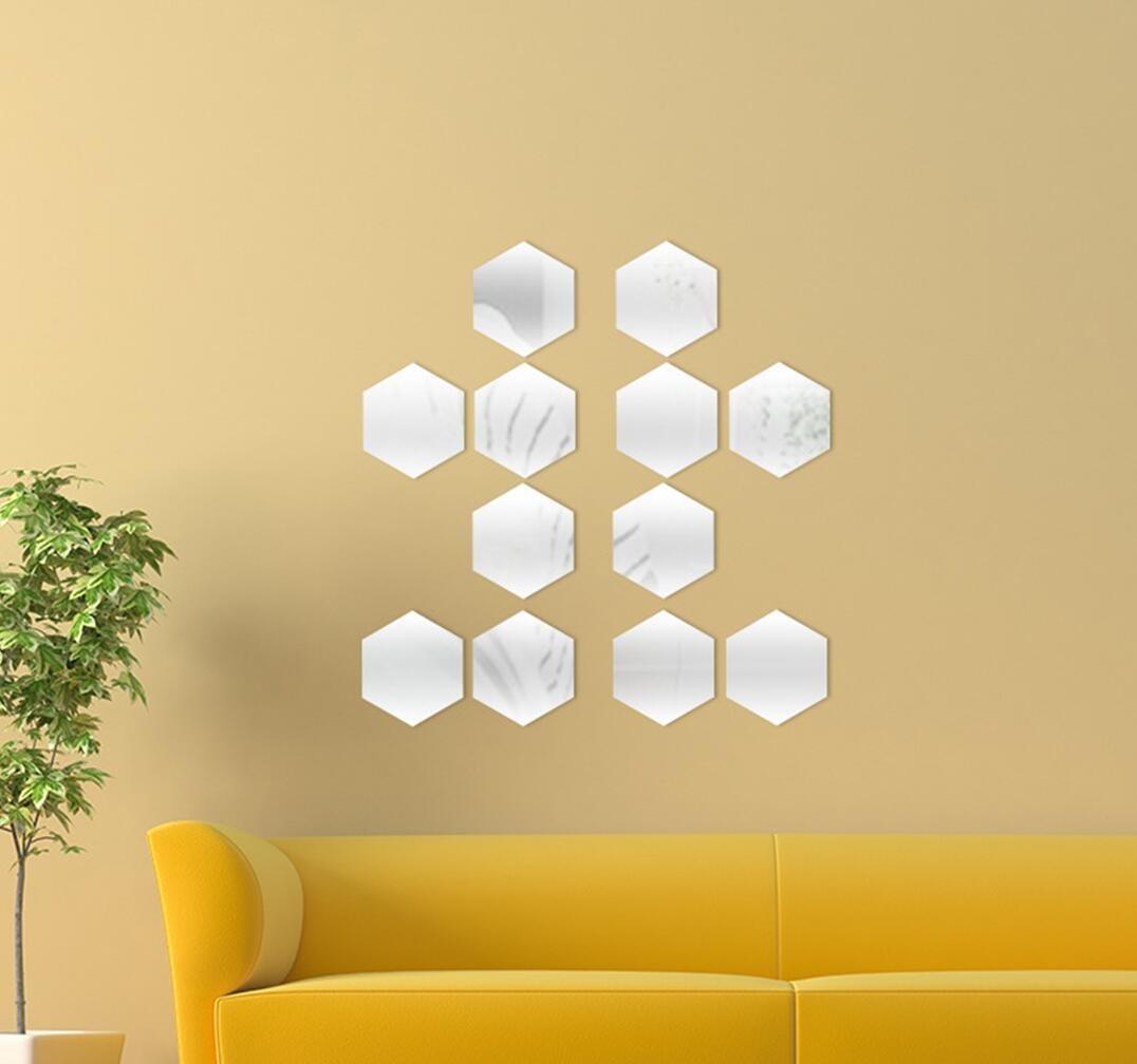 Amazon.com: Yusylvia 1set of 12PCS Hexagon Decorative 3D Acrylic ...