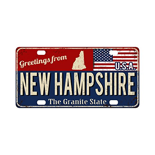 (InterestPrint Greetings from New Hampshire Rusty Metal Sign with USA Flag Metal License Plate for Car, Car Tags Cover for Woman Man - 12