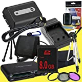 NPFH50 Lithium Ion Replacement Battery w/Charger + 8GB SDHC Memory Card + Mini HDMI + 3 Piece Filter Kit + Tripod + USB SD Memory Card Reader /Wallet + Deluxe Starter Kit for Sony DCRDVD508, DCRDVD408, DCRDVD308, DCRDVD108, DCRDVD505, DCRDVD405, DCRDVD305
