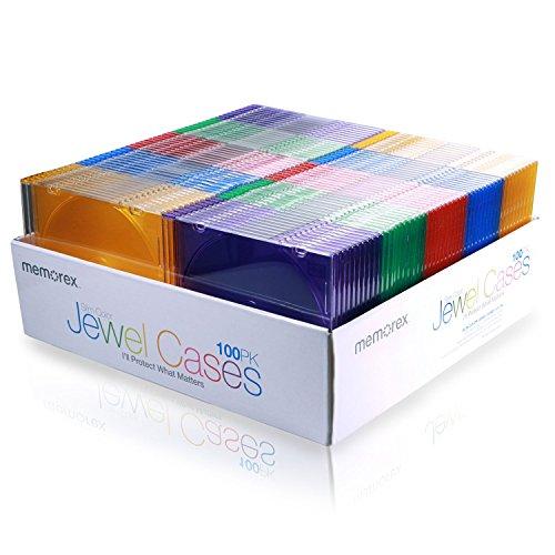Memorex Slim Jewel Cases - Pack of 100 - Multi Color (Cd Jewel Case Design)
