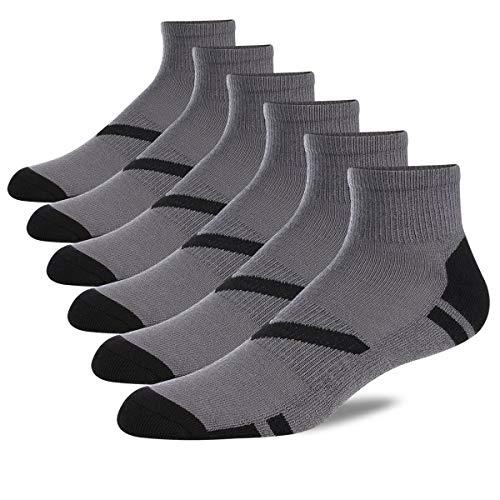 (COOVAN Men's Athletic Ankle Quarter Socks Men Cushion Moisture Wicking Running Work Sock 6 Pack)