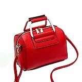 Women Mini Baguette Boston PU Leather Handbag Top Handle Pillow Barrel Design Satchel (Red)