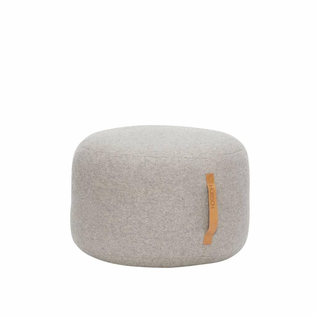 HÜBSCH - Pouf rond gris en laine Hubsch