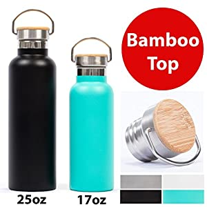 Gypsy Color Pure Flask 750ml (25 ounce) Insulated Water Bottles for Sport Hydration with BPA Free Stainless Steel Water Bottle, White Durable Paint with Wide Mouth Swivel Handle and Bamboo