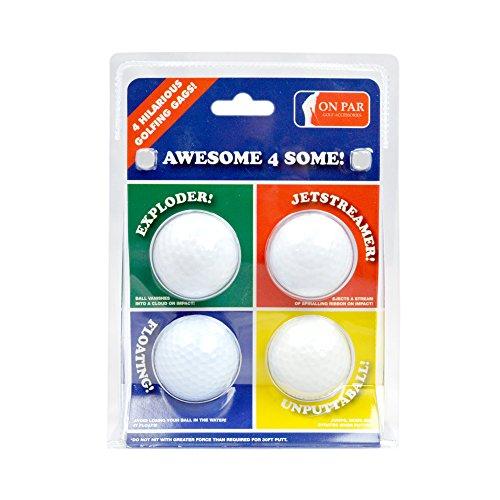 On Par Awesome 4 Some Four Joke Balls - Exploder, Jetstreamer, Floater & Unputtaball (Exploder Golf Ball)