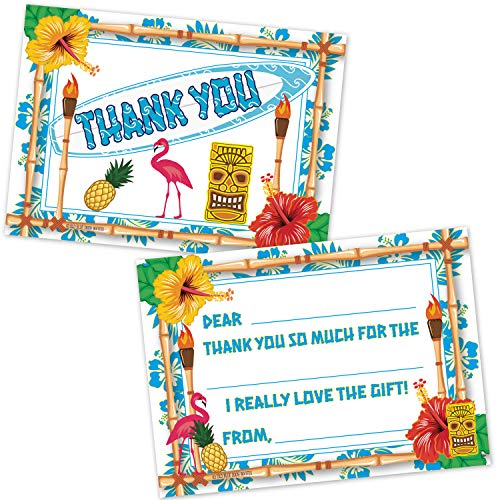 Luau Beach Party Kids Fill in The Blank Thank You Notes (20 Count with Envelopes) - Tropical Hawaiian Tiki Theme Summer Birthday Party Thank You Cards]()