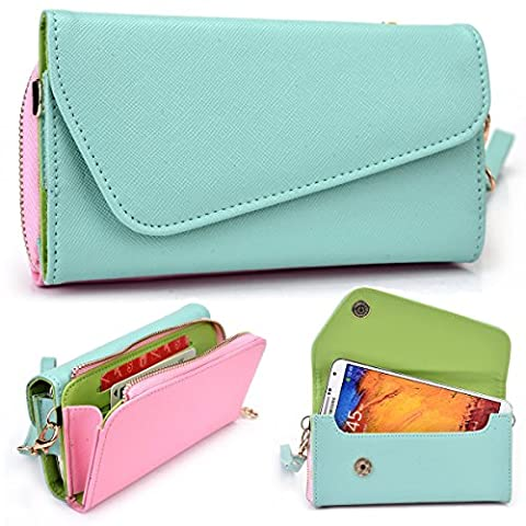 Kroo LG X Power (K210), K10 (2017) K7 K8 K4 (2017), Nexus 5X, LG G6 G5/G5 SE G4 G3 G2 Case | Mint Green/Pink Universal Crossbody Clutch & Wristlet [Lovely Color (Forros Para Zte Boost Mobile)