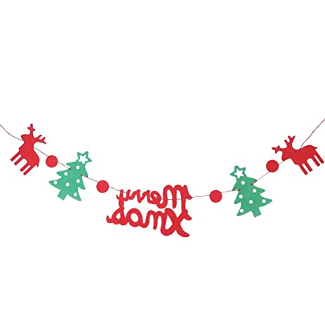 tinksky merry christmas letter reindeer christmas tree bunting banner garland wall and door hanging decoration xmas - Christmas Letter Decorations