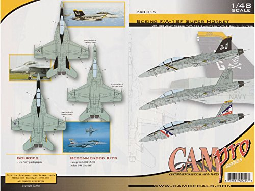 CAMP48015 1:48 CAM Pro Decals - F-18F Super Hornet VFA-2 Bounty Hunters VFA-103 Jolly Rogers VFA-106 Gladiators [WATERSLIDE DECAL SHEET] Super Hornet Model Kit