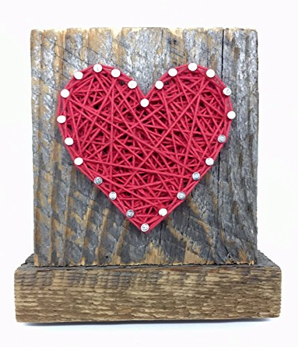 Sweet & small freestanding wooden red string art heart sign. Perfect for home accents, Wedding favors, Anniversary gifts, Valentine's Day, Christmas, nursery decoration and just because gifts. (Valentine Decorations Home)