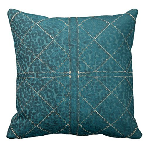 Emvency Throw Pillow Cover Vintage Western Turquoise and Gold Stitch Southwest Decorative Pillow Case Home Decor Square 16 x 16 Inch Pillowcase - Stitch Gold Design Decorative
