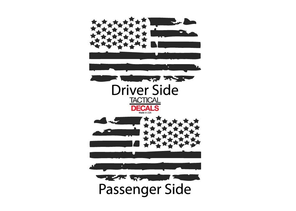 HS2.A Jeep Wrangler 2007-2019 4 Door Decals in Matte Black for side windows Distressed USA American Flag Design