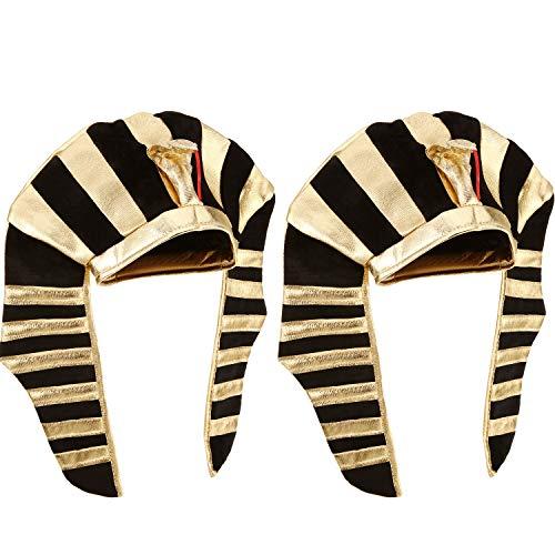 Syhood 2 Pack Egyptian Costumes Men Pharaoh Hat Egyptian Headdress for Men and Women