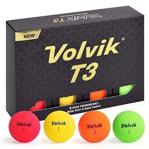 Volvik T3 Ionomer Polymer Long Distance Low Side Spin Matte Finished Premium Balls 3-Pieces, 1 Dozen (Multi-Color)