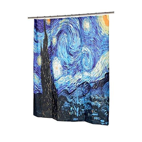 Get Orange Van Gogh Starry Night Shower Curtain, Thicken Curtain with 12pcs Plastic Hooks , 72