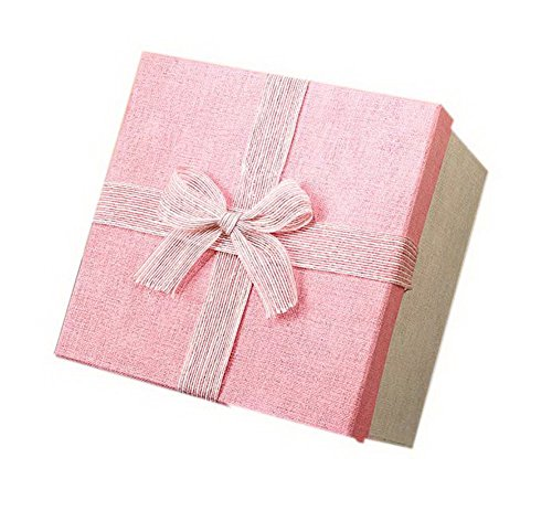 Elegant Black Gift Box (Square Gift Box Large Gift Box Birthday Wedding Gift Packaging Box, Elegant Pink)