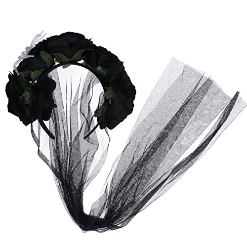 Amosfun Flower Veil Lace Rose Headband Headpiece Halloween Party Veil - Black]()