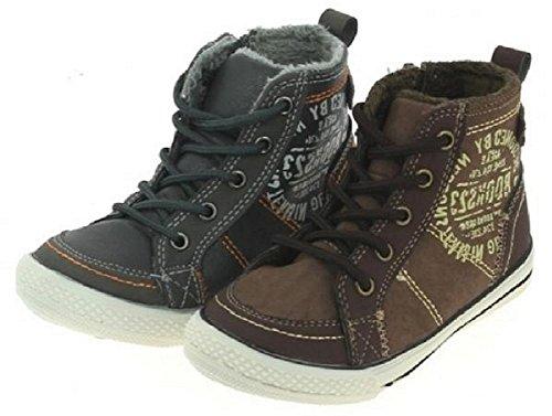 Modische Kinder Sneaker Turnschuhe, Knöchelstiefel mit Reißverschluss seitlich und vorne mit Schnürung, leicht gefüttert braun, grau, Größe 25-30 Grau
