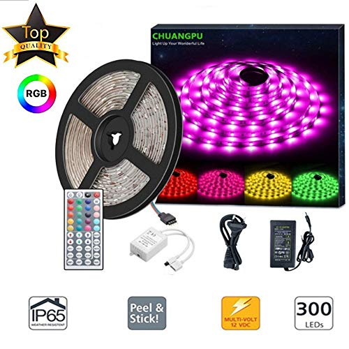 rip Lights Kit 2-Pack x 5M w/Extra Adhesive 3M Tape - 32.8ft 300 LEDs SMD 5050 RGB Light, 44 Key Remote Controller, Flexible Changing Multi-Color Lighting Strips for TV, Room ()
