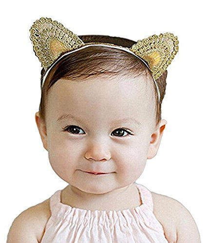 CRB Fashion Cat Ears Golden Baby Girl Toddler Hair Tie Clip Elastic Headband