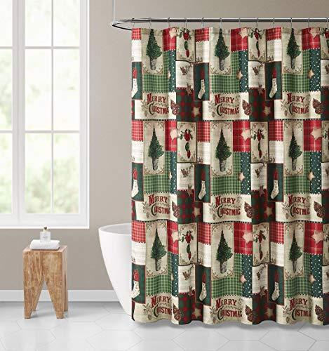 GoodGram Merry Christmas Topiary Holiday Plaid Farmhouse Festive Fabric Shower Curtain - Standard Size (Christmas Bathroom Sale Sets)