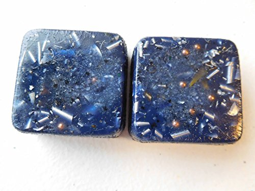 2 Indigo Blue Mini Cube Tower Busters Crystal Orgone Generator Energy Accumulator 528Hz/7.83Hz/Advance Harmonics Many Beautiful Ingredients and Colors!! (Indigo Blue)