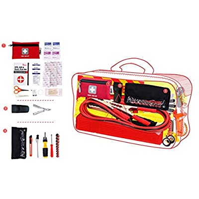Thrive Roadside Assistance Auto Emergency Kit + First Aid Kit – Gray Travel Bag - Contains Jumper Cables, Tools, Reflective Safety Triangle and More. Ideal Winter Accessory for Your car or Truck: Automotive