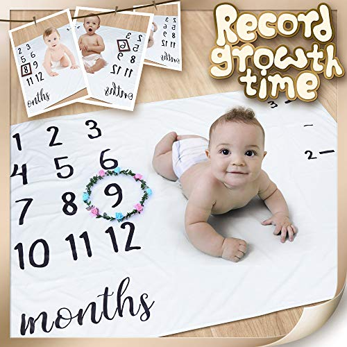 """Baby Milestone Blanket, Ideal Baby Shower Gift for Babies/Newborn/New Mom, 47"""" x 40"""", Create Moments to Memories Watch Me Grow Blanket by NOVEMBER SPRING (Image #2)"""