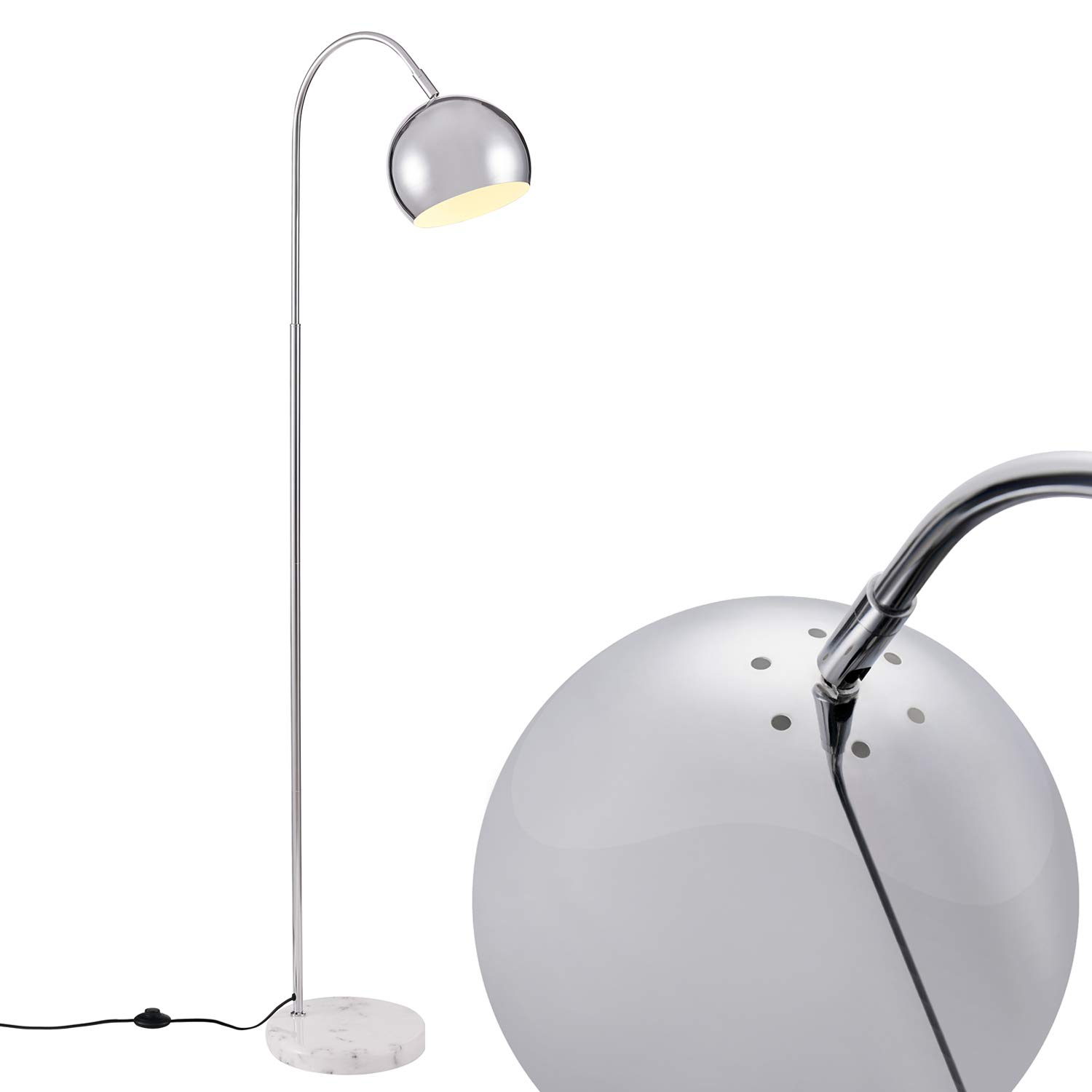 Arched White Floor Lamp, Modern Light with White Marble Base Archiology 61