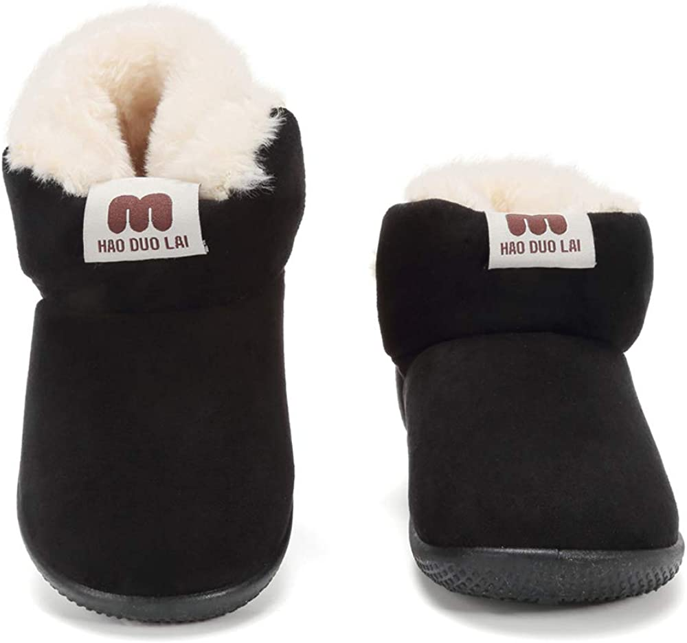 Toddler Casual Winter Warm Boots Fur Lined Anti-Slip Rubber Sole Comfortable Walking Shoes
