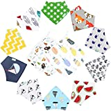 12-Pack Unisex Baby Bandana Drool Bibs with Wash Cloth Towel for Babies,Toddlers - Organic Cotton Absorbent Bib Bandana (Neutral Pattern)