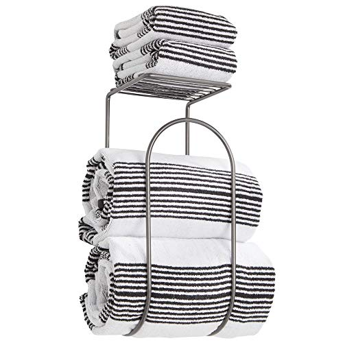 mDesign Modern Metal Wire Wall Mount Towel Rack Holder and Organizer with Storage Shelf - for Bathroom Towels, Washcloths, Hand Towels - Decorative Curved Design - Graphite - Storage Rack Towel