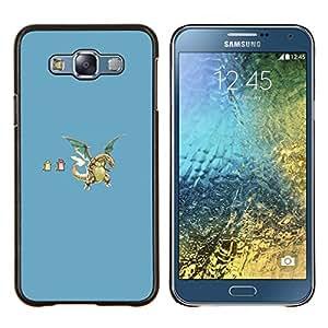 EJOOY---Cubierta de la caja de protección para la piel dura ** Samsung Galaxy E7 E700 ** --Divertidos dragones