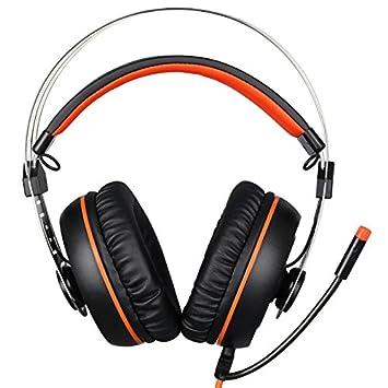 Wewoo Auriculares PC para Ordenador Portátil Negro + Naranja USB Gaming Headset 7.1 Canales Smart Diadema Vibración con inalámbrico Control + Micro: ...