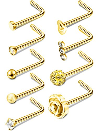 Gold-colored, stainless L-shaped nose rings with different designs.